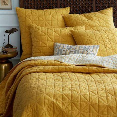mustard bedding nomad coverlet shams golden gate west elm