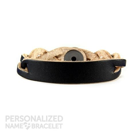 personalized leather bracelet black id personalized