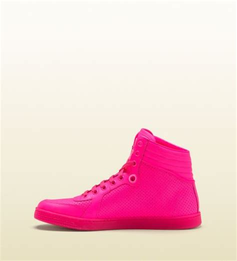 gucci coda neon pink leather sneaker in for pink lyst