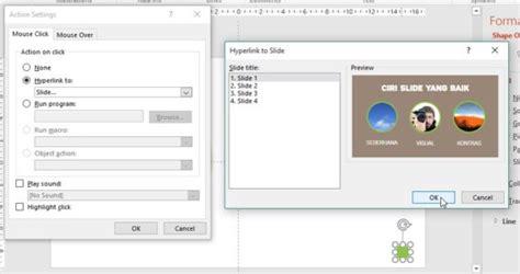 membuat tombol navigasi powerpoint fitur action pada powerpoint presentasi net