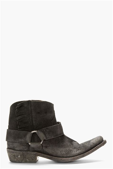 Golden Goose Cowboy Boots by Golden Goose Deluxe Brand Black Distressed Suede Fringed