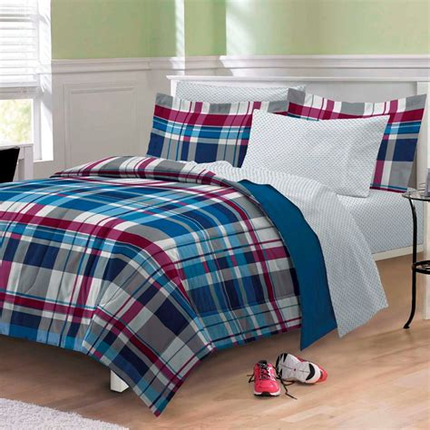 blue and red comforter sets varsity denim blue red plaid teen boy bedding twin xl