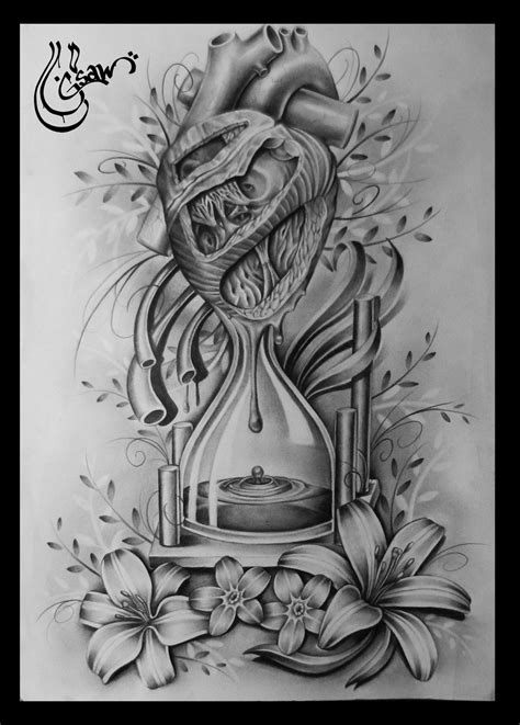 drawn hourglass heart pencil and in color drawn