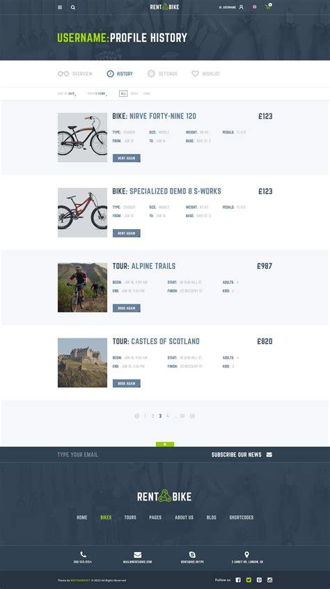Rent A Bike Rental Booking Psd Template By Bestwebsoft Themeforest User Profile Website Template Free