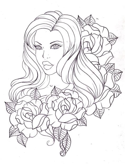 tattoo cartoon sketch a lady among roses by nevermore ink on deviantart
