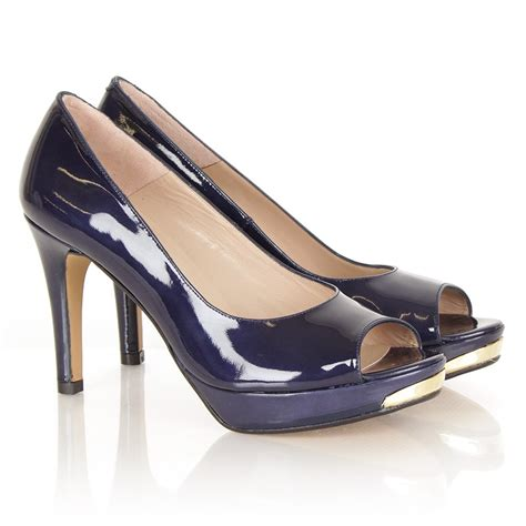 navy patent shoes comic navy patent peep toe heeled shoes