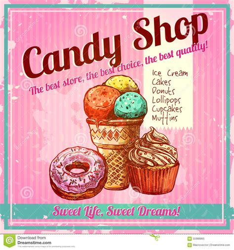 Plakat Candy by Vintage Candy Shop Poster Stock Vector Illustration Of