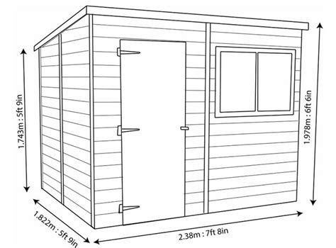 Shiplap Dimensions Shire Shiplap Pent Roof Wooden Shed 8 X 6