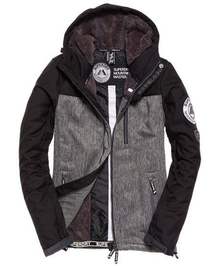 Superdry Black Leather List Grey mens hooded mountain marker jacket in navy grit