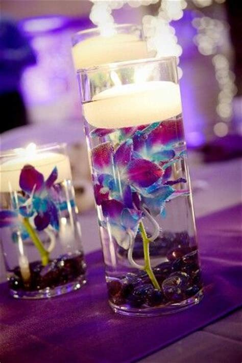 Wedding Centerpieces Clear Glass Beads W Blue Orchids And Blue And Purple Centerpieces For Weddings