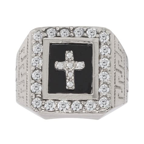 sterling silver onyx and cz cross mens ring jewelry rings