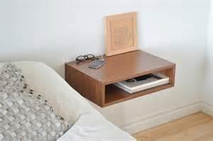 Pedestal Nightstand Floating End Table Nightstand Solid Walnut Bedroom Bedside