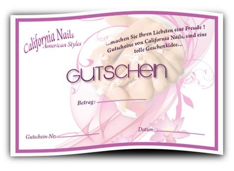 Nagel Gutschein by California Nails Nagelstudio Wetzlar Giessen Frankfurt