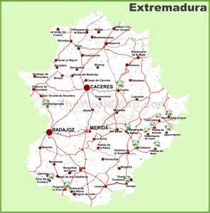 map of for extremadura road map