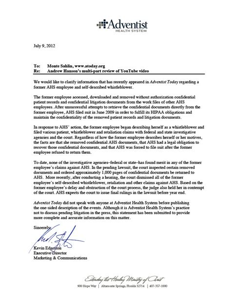Response Letter To Whistleblower The Whistleblower And The Healthcare Corporation