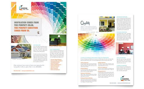 bulletin layout sles house painting contractor datasheet template design
