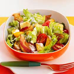 croutons provide the bread for this bacon lettuce and tomato salad serve it for lunch on a