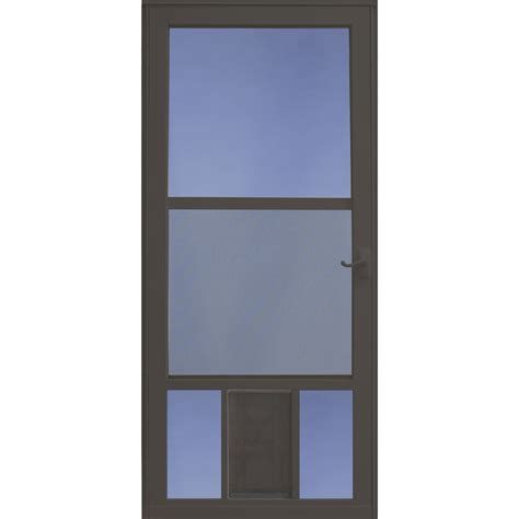 Sliding Screen Door With Dog Door Built In Shop Larson Petview Brown Mid View Aluminum Storm Door