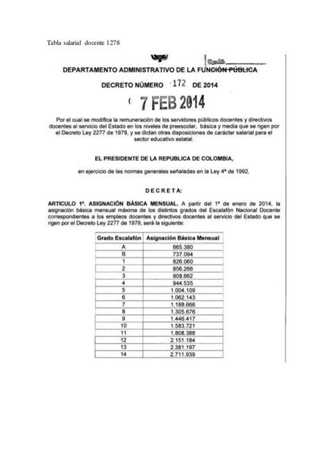 tabla salarial docentes 1278 y 2277 2012 decreto salarial 2012 tabla salarial docentes 1278 y 2277 2014 tabla salarial