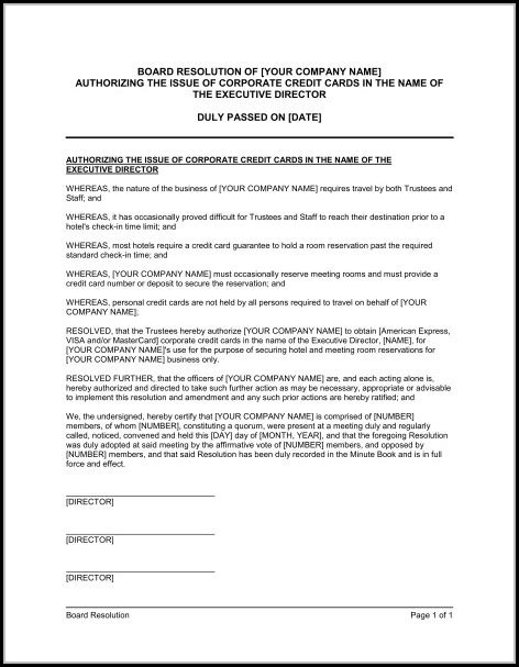 corporate resolution template signing authority template