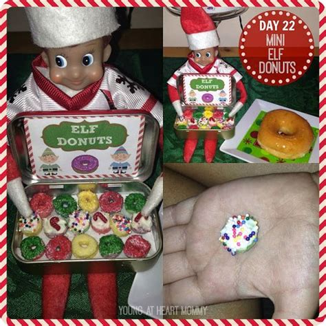 elf on the shelf donut printable elf on the shelf day 22 mini elf donuts made from