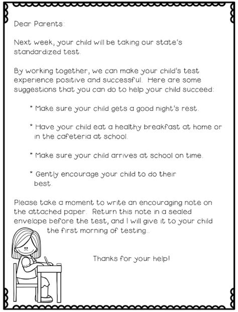 Parent Letter Regarding Testing Gearing Up For Standardized Testing Freebies Test Anxiety Standardized Test And Letters