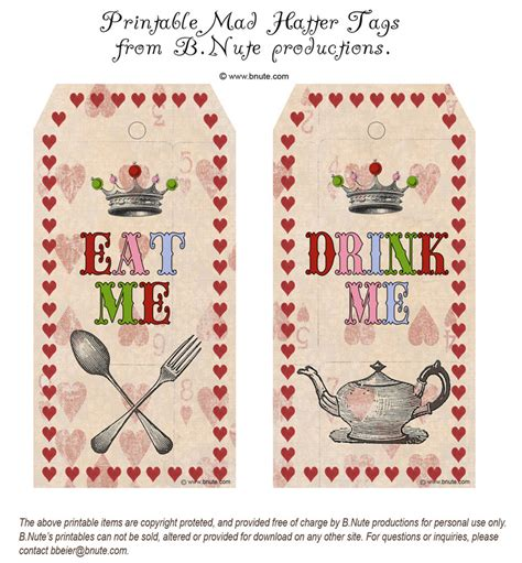 mad hatter card template bnute productions printable mad hatter eat me drink me tags
