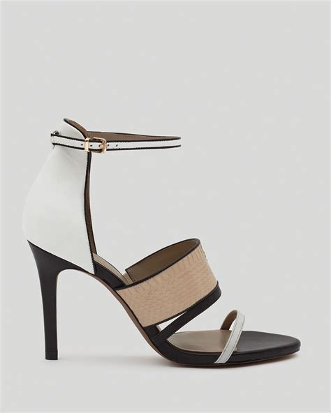 strappy black sandals high heels reiss sandals strappy high heel in black black white lyst