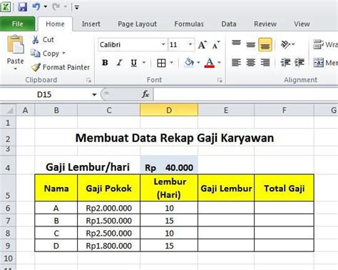 format data gaji karyawan membuat rekap gaji karyawan menggunakan alamat cell pada excel