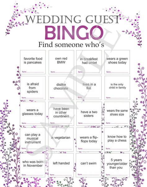 wedding reception game wedding bingo bingo for guests