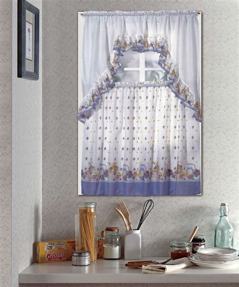 pots fruit complete tier swag set kitchen curtain
