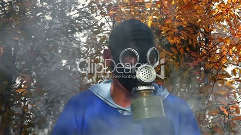 Masker Fogging in gas mask in fog royalty free and stock footage