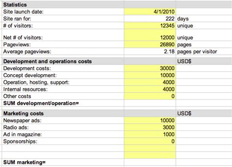 roi document template free website roi calculator spreadsheet