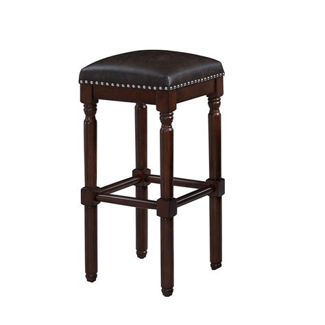 Cherry Backless Bar Stools by Linon Home Decor Kennedy 30 In Cherry Cushioned Bar