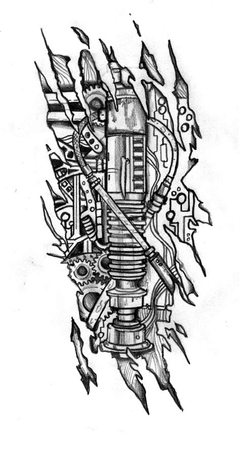 biomechanic lightsaber tattoo design by customartwerk on