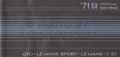 1971 pontiac gto and lemans owner s manual reprint