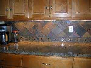 Slate Backsplash Tiles For Kitchen by Wondrous Brown Wooden Kitchen Cabinetry System With