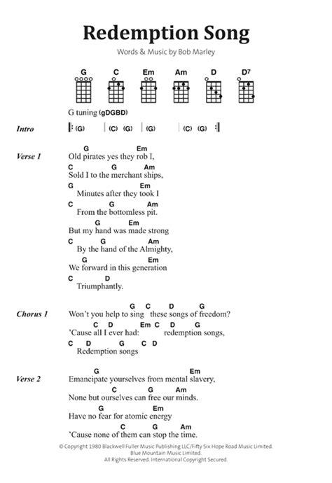 ukulele tutorial redemption song redemption song partition par bob marley banjo paroles et