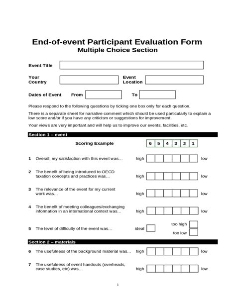 participant evaluation form templates end of event participant evaluation form free