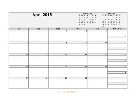 printable calendar excel 2015 april 2015 calendar blank printable calendar template in