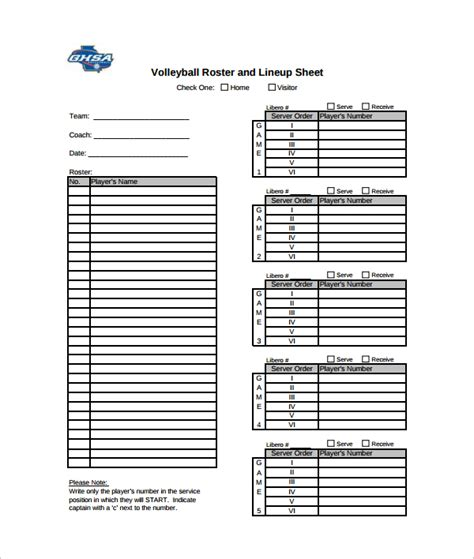 volleyball lineup printable sle volleyball roster template 6 free documents