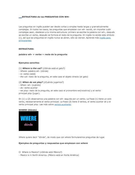 preguntas en ingles con wh calam 233 o estructura de las preguntas con wh