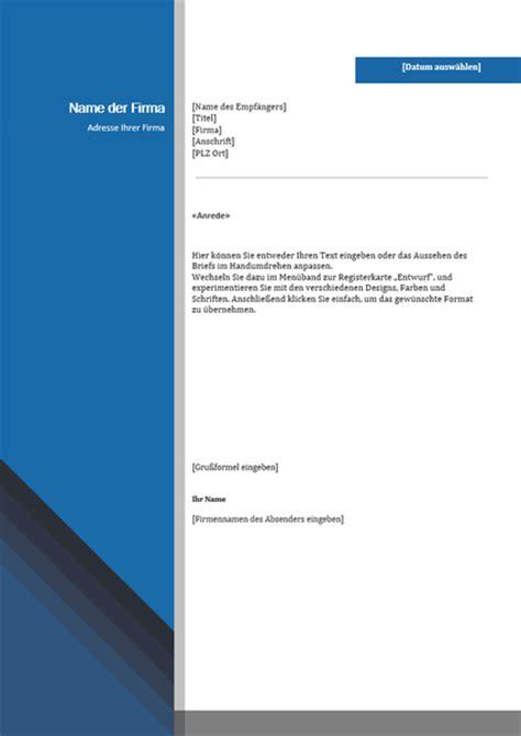 Word Vorlage In Outlook Einbinden gesch 228 ftsbrief blauer rand und farbverlauf office
