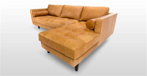 tan sectional couch tan brown leather mid century modern sectional upholstered
