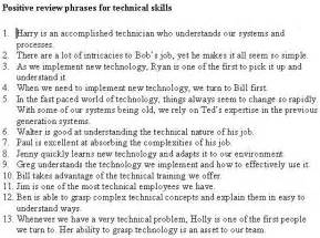 Employee performance review phrases