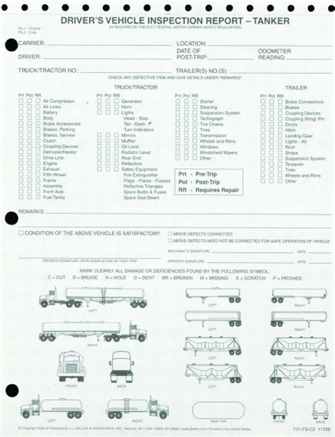 Detailed Dvir W Illustrations Vehicle Inspection Report For Tanker 2 Ply Carbonless Snap Out 731 Trailer Inspection Report Template