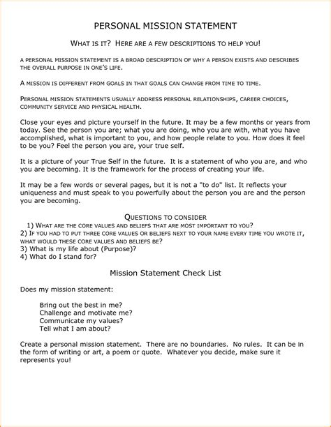 personal mission statement exles for students student mission statement exles template