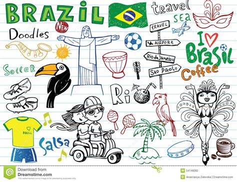 doodle independência do brasil symbols of brazil stock vector image 54149282