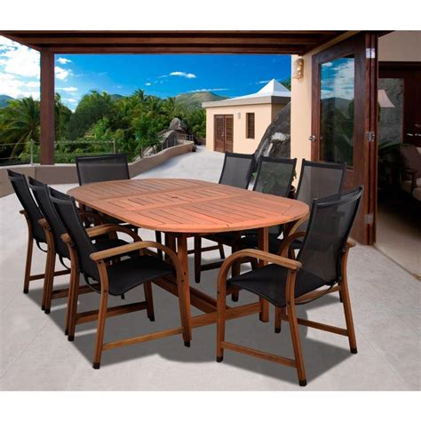 bahama outdoor dining set amazonia bahamas oval 9 eucalyptus patio dining set