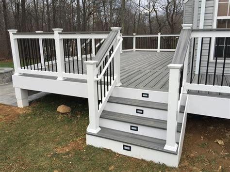 trex deck steps lights cap rail white vinyl railings vinyl